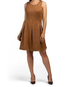 Faux Suede Fit And Flare Dress