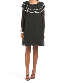 Long Sleeve Topped Cocktail Dress
