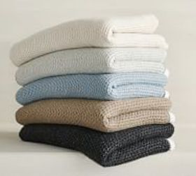 Pottery Barn Thermal Sherpa Back Knit Throws