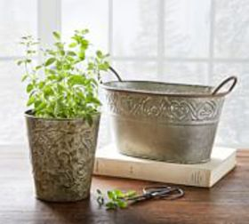 Pottery Barn Pressed Tin Cachepot Collection