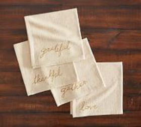 Pottery Barn Thanksgiving Embroidered Sentiment Or