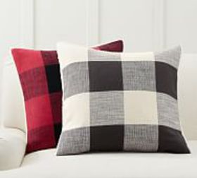 Pottery Barn Bryce Sherpa Back Check Pillow Covers