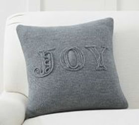 Pottery Barn Joy Knitted Sentiment Pillow Cover