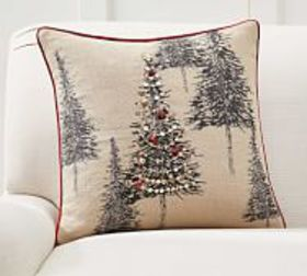 Pottery Barn Tannen Embellished Tree Pillow Cover
