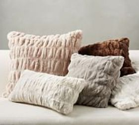 Pottery Barn Faux Fur Ruched Pillow Covers