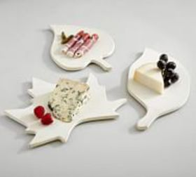 Pottery Barn Leaf Shaped Stoneware Cheese Platters