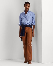 Ralph Lauren High-Rise Straight Leather Pant