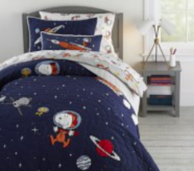 Pottery Barn Glow-in-the-Dark Snoopy® Space Quilt