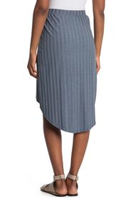 GO COUTURE Wrap High/Low Ribbed Knit Skirt