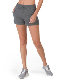 Woven Shorts With Side Zipper Pockets