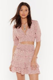 Nasty Gal Pink Floral Ruffle Crop Top and Skirt Se