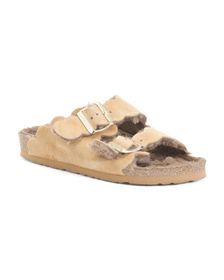 Made In Spain Suede Double Band Sandals With Fur