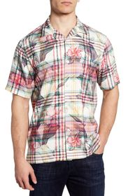 TOMMY BAHAMA Continental Floral Plaid Short Sleeve
