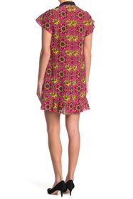 RED VALENTINO Patterned Silk Flutter Sleeve Mini D