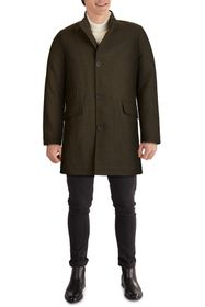 KENNETH COLE Zip Collar Button Front Twill Coat