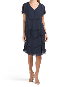 Chiffon Caped Tiered Dress With Embellishment At N