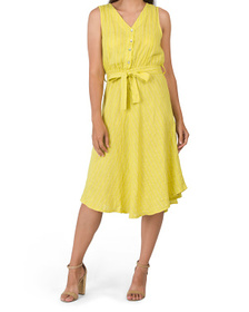 Made In Italy Textured Button Front Linen Dress