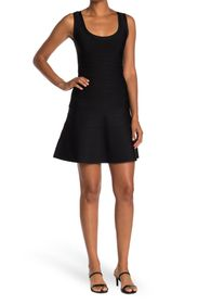 HERVE LEGER Scooped Sleeveless A-Line Banded Dress