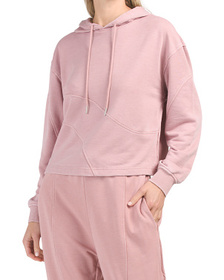 Cropped French Terry Seamed Hoodie