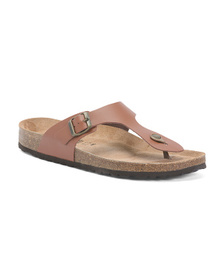 Made In Italy Thong Toe Leather Slide Sandals