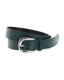 Made In Italy Leather Reptile Belt With Buckle