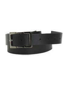 Made In Italy Leather Belt With Square Buckle