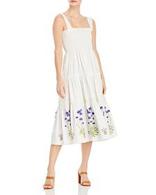Tory Burch - Embroidered Smocked Midi Dress