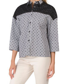 Made In Italy Embroidered Shoulders Blouse