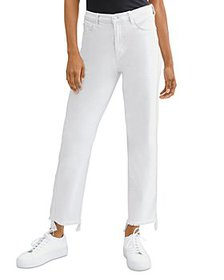 7 For All Mankind - Cropped Straight Jeans in Ston
