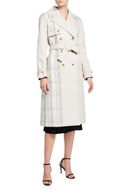 St. John Collection Plaid Tweed Belted Coat