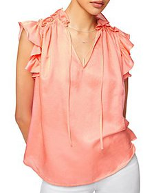 7 For All Mankind - Ruffled Flutter Sleeve Top