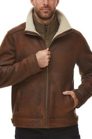 RAINFOREST Faux Shearling Lined Leather Aviator Ja