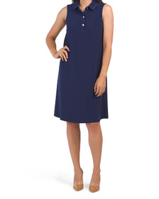 Solid Ity Shirt Collar Trapeze Dress
