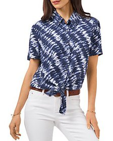 VINCE CAMUTO - Tie Dye Tie Front Shirt