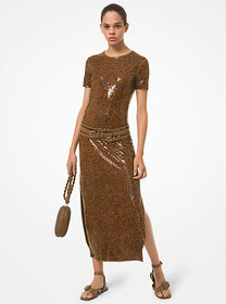 Michael Kors Sequin Embroidered Crepe Jersey Dress