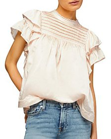 7 For All Mankind - Lace Trim Ruffled Top