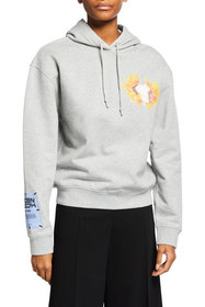 MCQ Cropped Flower Graphic Hoodie
