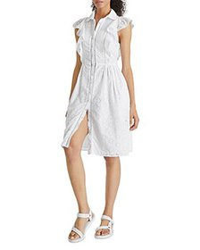 FRENCH CONNECTION - Duna Lawn Eyelet Shirt Dress