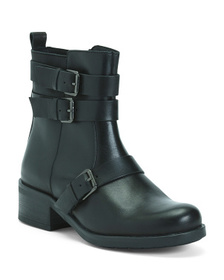 Made In Portugal Leather Boots With 2 Buckles