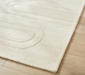 Pottery Barn Carved Arches Natural Wool Rug