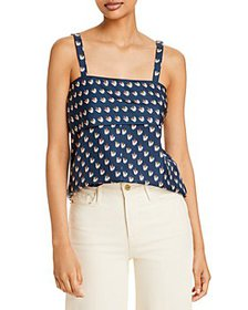 Theory - Floral Ikat Print Silk Back Tie Top