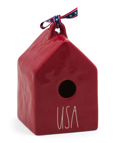 Usa Square Birdhouse With Ribbon
