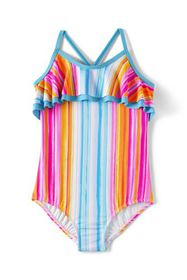 Lands End Girls Ruffle One Piece Swimsuit