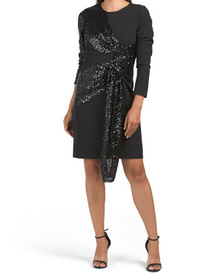 Crepe And Sequin Draped Dress