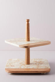 Anthropologie Marbled Acacia Tiered Platter