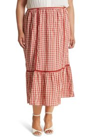MAX STUDIO Tiered Gingham Maxi Skirt (Plus Size)