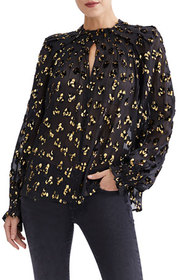 7 for all mankind Pintuck Metallic Keyhole Blouse