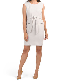 Pebble Stretch Crepe Cap Sleeve Belted Dress