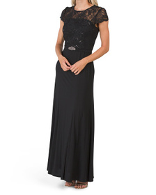 Lace Top Long Gown