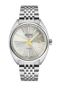 GEVRIL Men's Five Points Silver Dial Stainless Ste